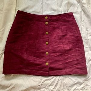 Maroon Button Skirt